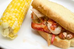Lobster Roll and Corn on the Cob Stock Image