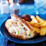 Lobster roll. And french fries with ketchup Stock Photos