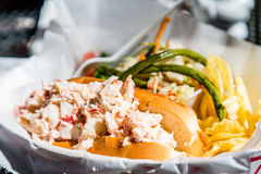 Lobster Roll with Salad Stock Photo