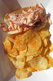 Lobster Roll Sandwich and Chips Stock Image