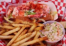Lobster roll served in Seafood Restaurant Royalty Free Stock Images