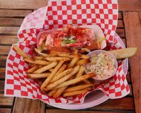 Lobster roll served in Seafood Restaurant Stock Photos