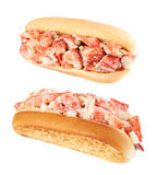 Lobster rolls. Two lobster rolls isolated on white royalty free stock photos
