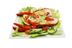 Lobster salad. Lobster with green salad on a white plate royalty free stock images
