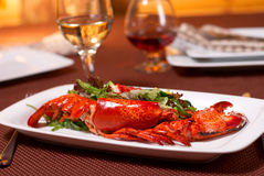 Lobster with salad and tomato Royalty Free Stock Photos