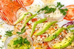 Lobster salads,. With avogado and Mayonnayse Royalty Free Stock Image