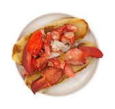 Lobster Sandwich Plate Top View Stock Photography