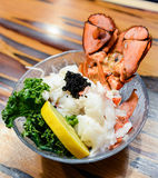 Lobster Sashimi. With black tobiko flying fish roe, lemon and kale royalty free stock image