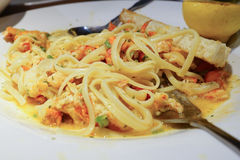 Lobster Scampi Linguini and folk Stock Photography