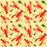 Lobster seamless pattern Royalty Free Stock Photos