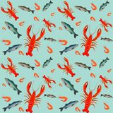 Lobster seamless pattern Stock Photography