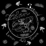 Lobster served with lemon tomato parsley. Lettering lobster served with lemon tomato parsley, seafood, menu, seafood restaurant, hand drawn with brush pen, inc Stock Photography