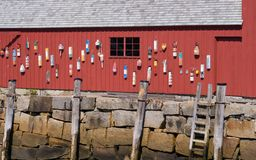 Lobster shack. Old Buoys handing on a lobster shack in the new england coastal town of Rockport, Massachusetts Stock Photos