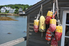 Lobster Shack Bouys. Weathered lobster shack with buoys, with bay and resort houses in the background Stock Image