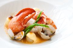 Lobster with shellfish. Macro close up of lobster with shellfish Royalty Free Stock Photography