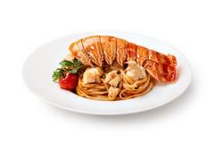 Lobster Spaghetti, Italian Cuisine Stock Photos