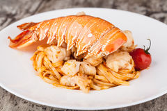 Lobster Spaghetti, Italian Cuisine Stock Image