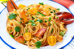 Lobster spaghetti Stock Photography