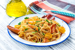 Lobster spaghetti Royalty Free Stock Image