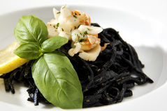 Lobster Squid Ink Pasta Stock Photo