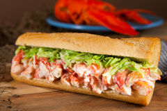 Lobster sub. Close-up of a lobster roll with lettuce Stock Image