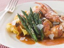Lobster Tagaliatelli With Asparagus Parmesan Stock Photography