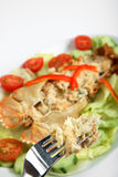 Lobster thermidor on a fork Stock Photography