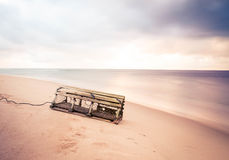 Lobster trap on beach Royalty Free Stock Photo