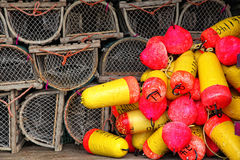 Lobster Trap and Buoys Stock Images
