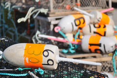 Lobster trap buoys Stock Photos