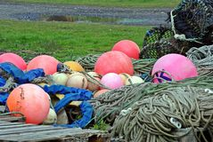 Lobster trap buoys and rope Royalty Free Stock Photos