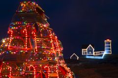 Lobster Trap Christmas Tree Near Nubble Lighthouse in Maine stock photos