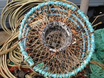 Lobster trap on dock, Brixham harbour UK, from above Stock Photos