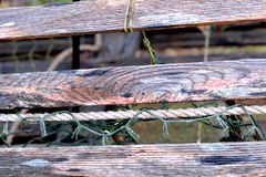 Lobster Trap; Weathered wooden trap, detail. Royalty Free Stock Image