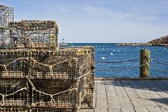Lobster traps. On the dock. Rockport Harbor, MA Royalty Free Stock Image