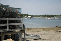 Lobster Traps. With Boats and Bay in Maine royalty free stock images