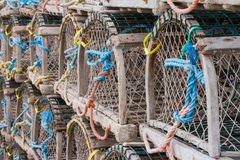 Lobster Traps Along Wharf Stock Images