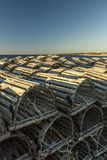 Lobster traps baking in the sun, Sally`s Cove, Gros Morne Nation stock photo