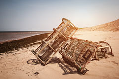 Lobster traps on beach Royalty Free Stock Photography