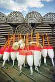 Lobster traps and buoys. Off a fishing dock in Maine Royalty Free Stock Photography