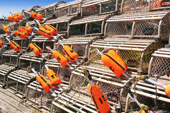 Lobster Traps and Buoys stock photo