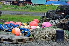 Lobster traps buoys and rope Stock Photo