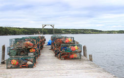 Lobster traps and buoys on wooden pier Stock Images
