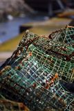Lobster traps. Close view of a pile of some lobster traps Stock Images