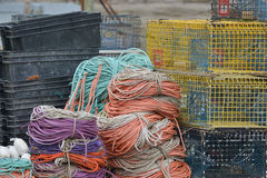 Lobster traps and colorful rope Royalty Free Stock Photography