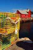 Lobster Traps Dominate the Working Port of Rockport, MA stock image