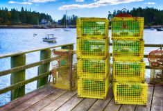 Lobster traps at a fishing pier Stock Image