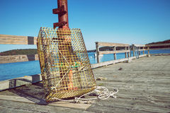 Lobster traps at fishing pier Stock Photography