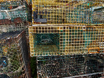 Lobster traps in fishing village Stock Photo