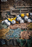 Lobster traps, floats and rope Royalty Free Stock Images